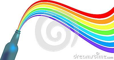 Botella con el arco iris