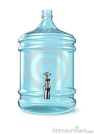 Botella de agua golpeada ligeramente