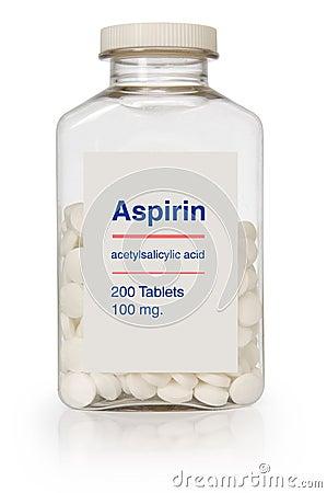 Botella de la aspirina Foto editorial