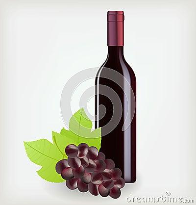 Botella de vino con las uvas