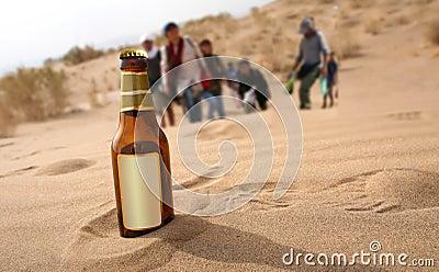 Botella en desierto