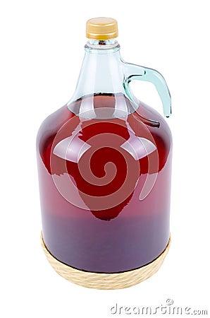 Botella grande de vino rojo
