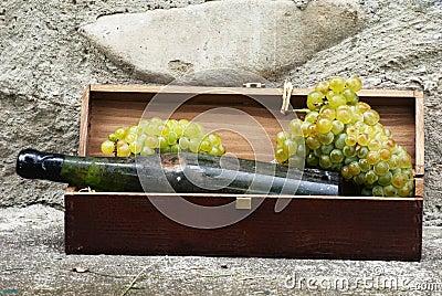 Botella vieja de vino blanco con las uvas