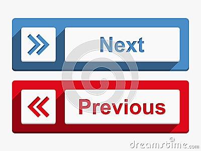 Botões seguintes e precedentes
