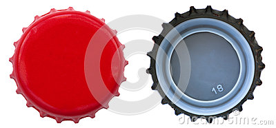 Red Metal Bottle Cap - Both Sides