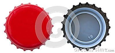 Red Metal Bottle Cap - Both Sides
