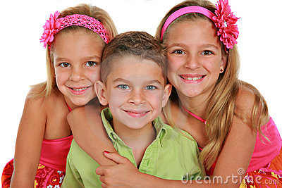 Bother and Sisters Portrait Isolated