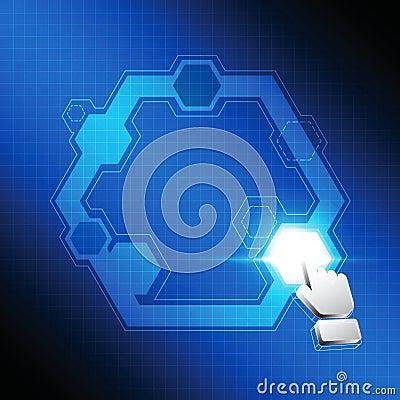 Botón del polígono del tecleo del cursor