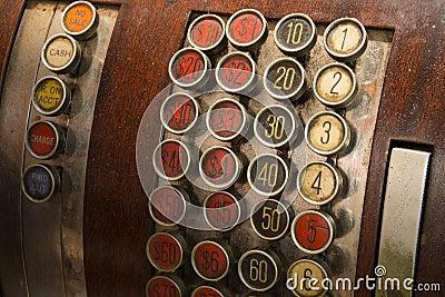 Botones antiguos de la caja registradora