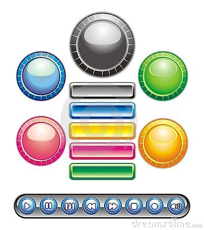 Botones circulares y rectangulares
