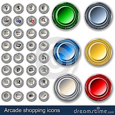Botones de las compras de la arcada