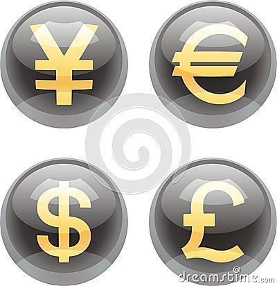 Botones del dinero en circulación