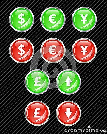 Botones del dinero en circulación.