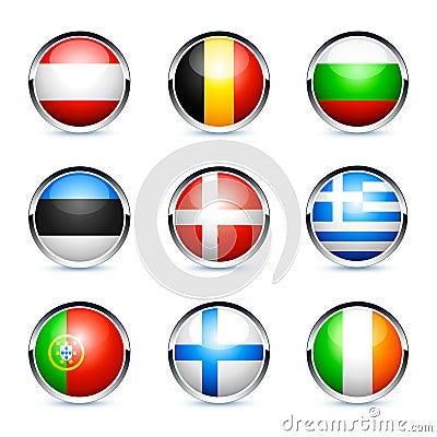 Botones del indicador de país europeo