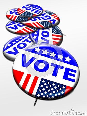 Botones del voto del día de elección