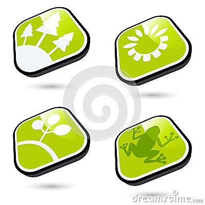 Botones ecológicos verdes