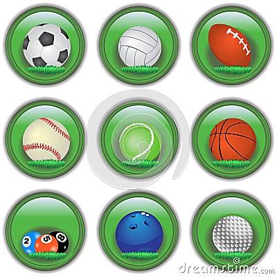Botones verdes del deporte
