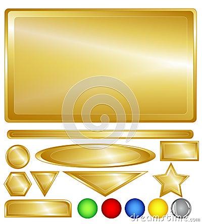 Botones y barras del Web del oro