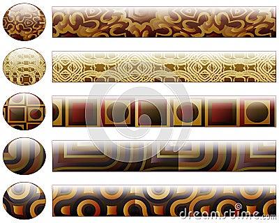 Botones y barras que corresponden con - elementos del diseño