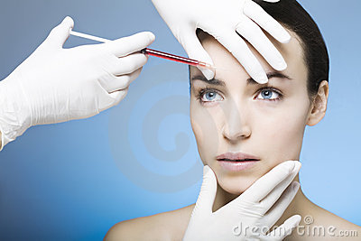 Botox injection for a young woman