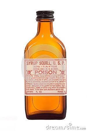 Bottiglia marrone antica di prescrizione
