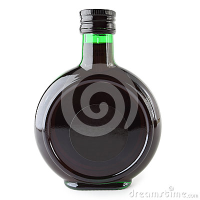 Bottle with alcohol beverage inside