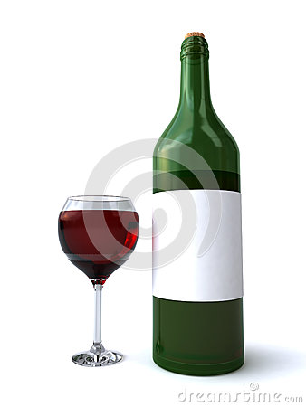 Free Bottle And Glass Of Red Wine Royalty Free Stock Photos - 26103218
