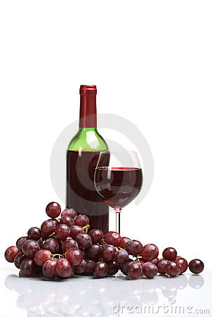 Free Bottle And Glass Of Wine On White Background Stock Image - 5271801