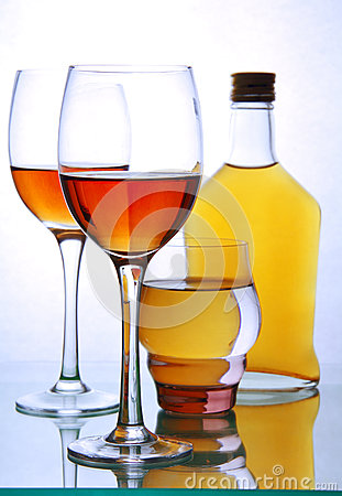 Free Bottle And Glasses With Alcohol. Royalty Free Stock Image - 35204056