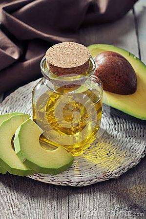 Bottle of avocado essential oil