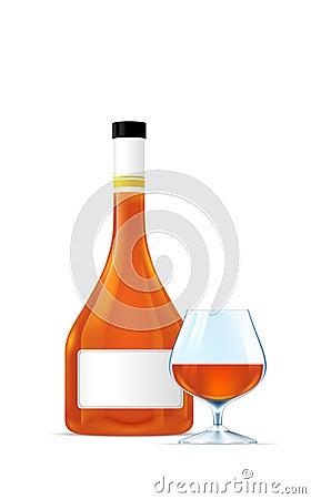 Bottle beautiful elite cognac and goblet