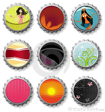 Bottle caps 3- vector set