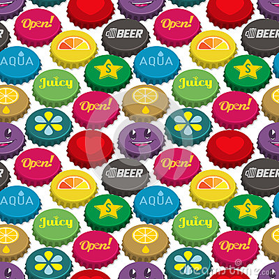 Bottle caps seamless background pattern