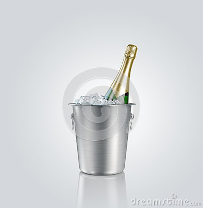 Bottle champagne in a bucket with ice