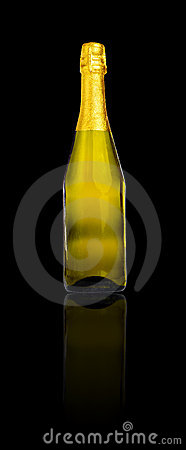 Bottle of champagne or cava isolated on black