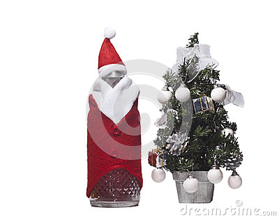 Bottle of christmas and tree