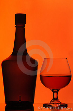 Bottle and cognac glass