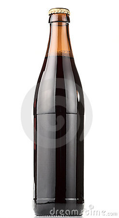 Bottle of dark beer, clipping path