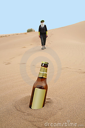 Bottle in desert