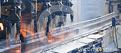 Bottle factory, process of making glass bottles