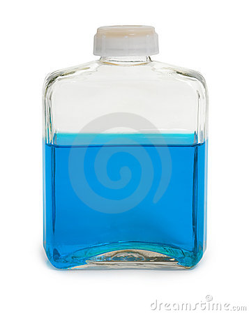 Bottle filled with blue chemical solution