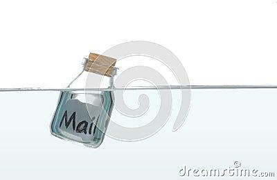 Message inside a bottle in water