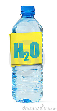 Bottle full of water and H2O label