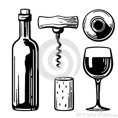 Free Bottle, Glass, Corkscrew, Cork. Side And Top View. Black And White Vintage  Illustration For Label, Poster Of Wine, Web, Set Stock Images - 73505834