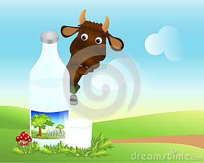 Bottle and glass with milk, cdr vector