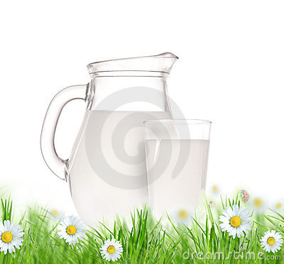 Bottle and glass of milk with grass