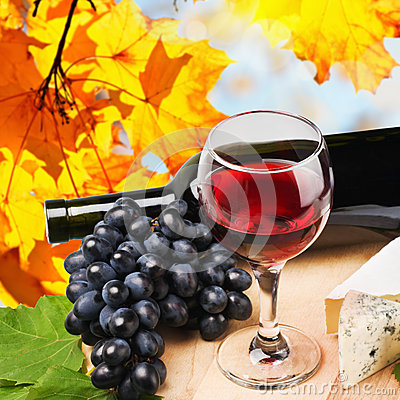 Free Bottle, Glass Of Red Wine Royalty Free Stock Photos - 26702278