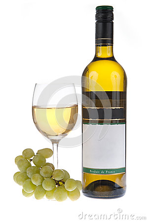 Bottle and glass of white wine with grapes
