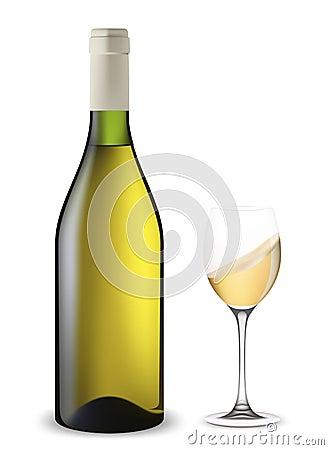 Bottle and glass of wine shaken.