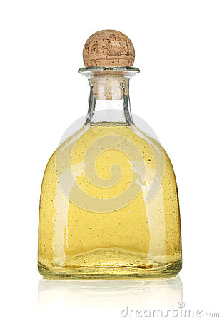 Bottle of gold tequila